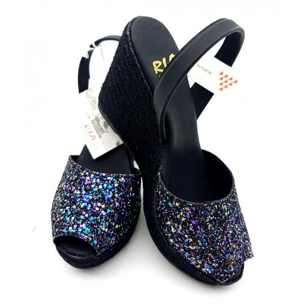 Sandale Avarca Platforma Glitter Negro Multicolor