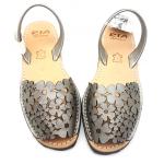 Sandale Avarca Flori Metalizate Acero